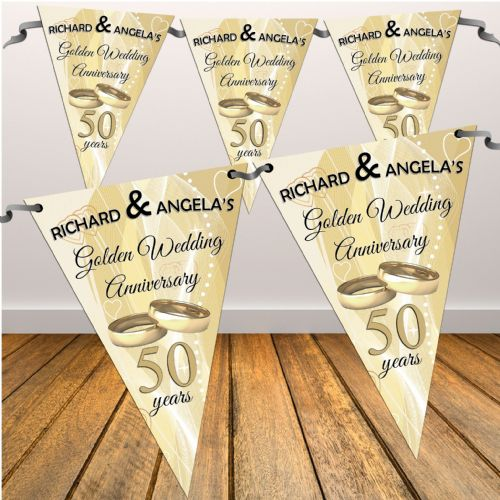 Personalised Golden 50th Wedding Anniversary Flag Bunting Banner - N11